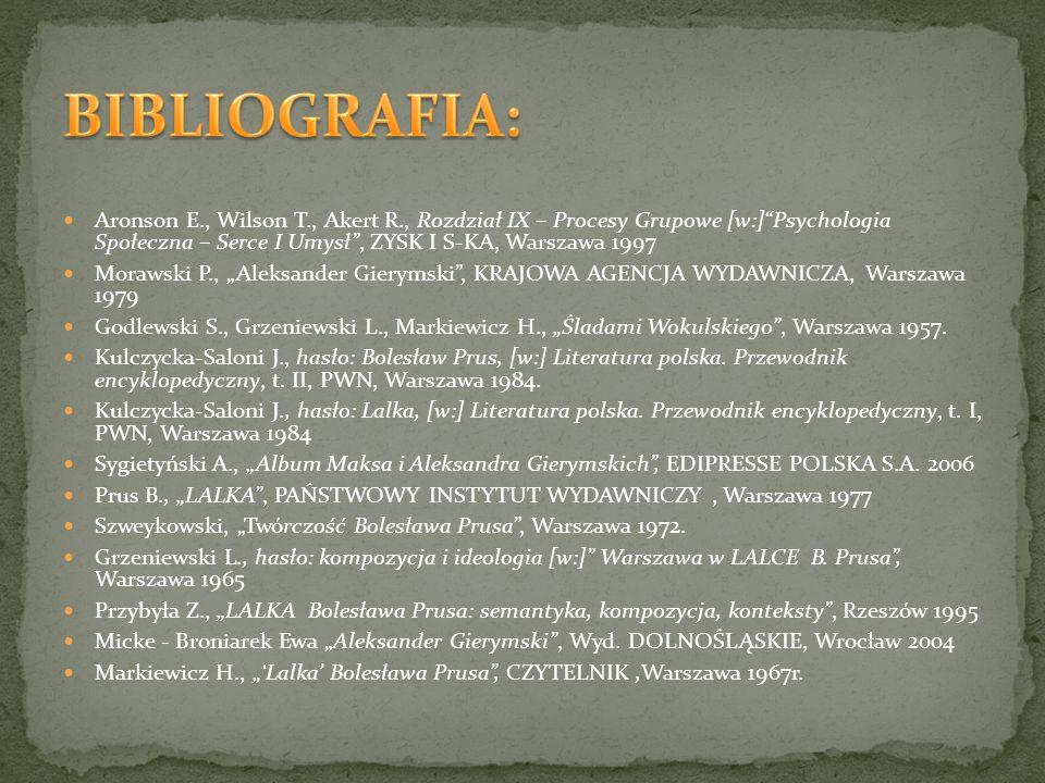 BIBLIOGRAFIA: Aronson E., Wilson T., Akert R., Rozdział IX – Procesy Grupowe [w:] Psychologia Społeczna – Serce I Umysł , ZYSK I S-KA, Warszawa 1997.